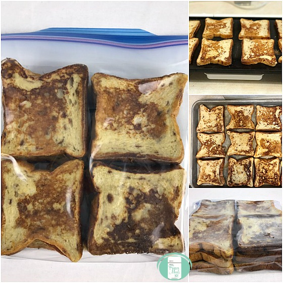 collage of cinnamon breakfast french toast in the bag and on the baking sheet
