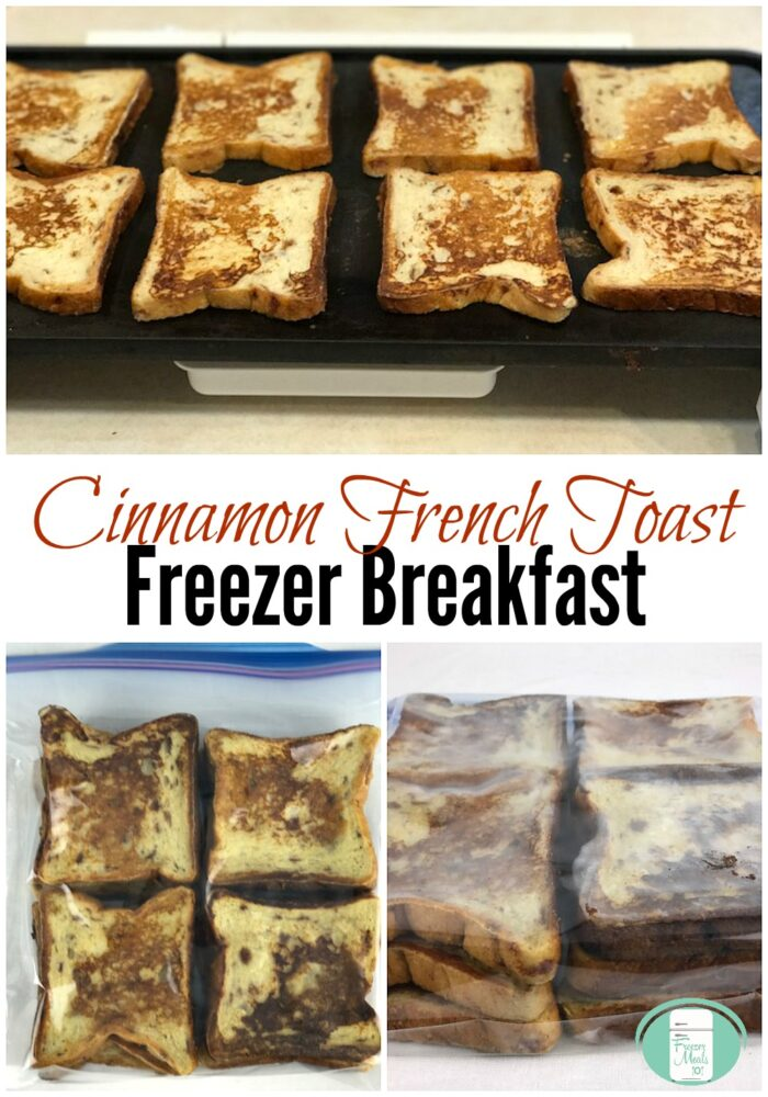 "8 pieces of French toast sit on a griddle at the top and there are clear plastic  bags full of French toast at the bottom with text that reads ""Cinnamon French Toast Freezer Breakfast"""