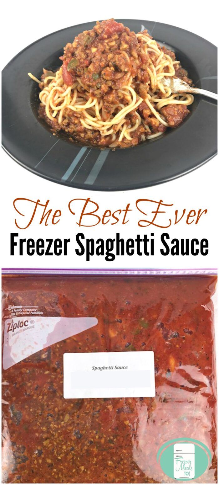 "a large black bowl is filled with spaghetti noodles topped with a chunky red meat sauce with bits of green visible. There is a fork sticking in the heap of pasta. On the bottom, there is a large bag full of red sauce. The text reads ""The Best Ever Freezer Spaghetti Sauce"""