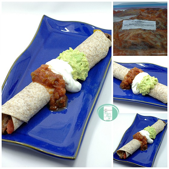 collage of beef fajitas in the freezer bag and finished on a plate