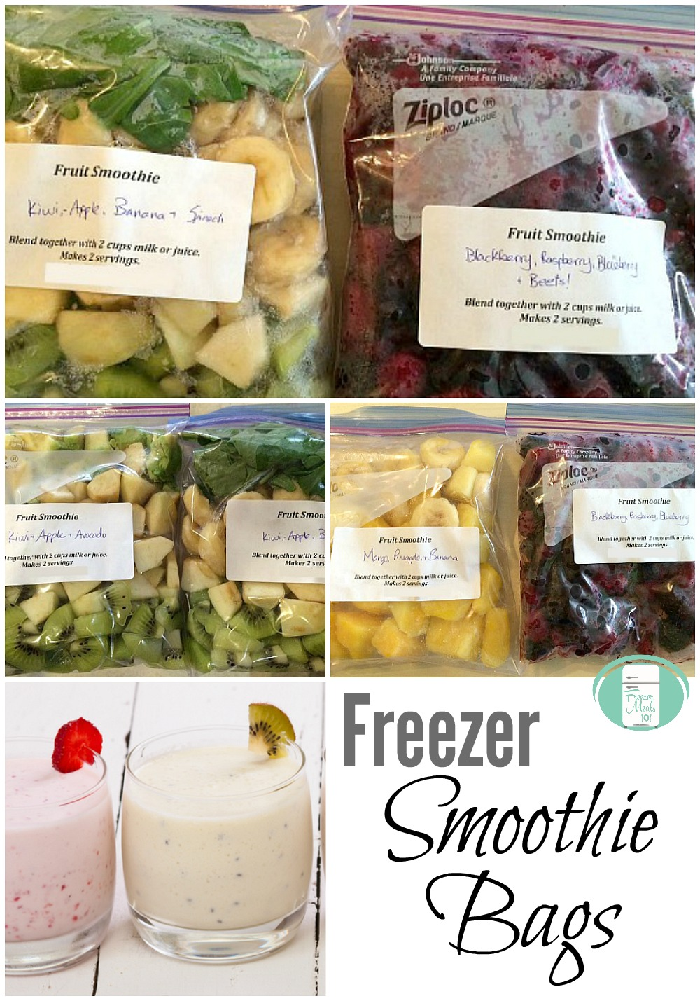 These freezer smoothie bags can be made in all kinds of delicious fruit and vegetable combinations.