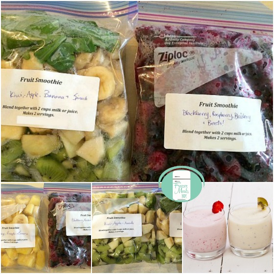 collage of make-ahead freezer smoothie bags