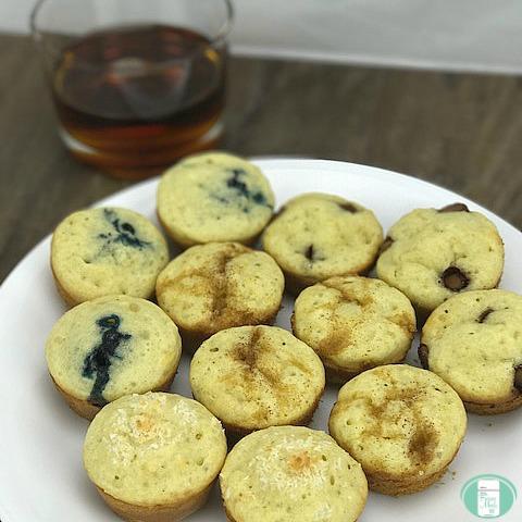 close up of pancake mini muffins on a plate
