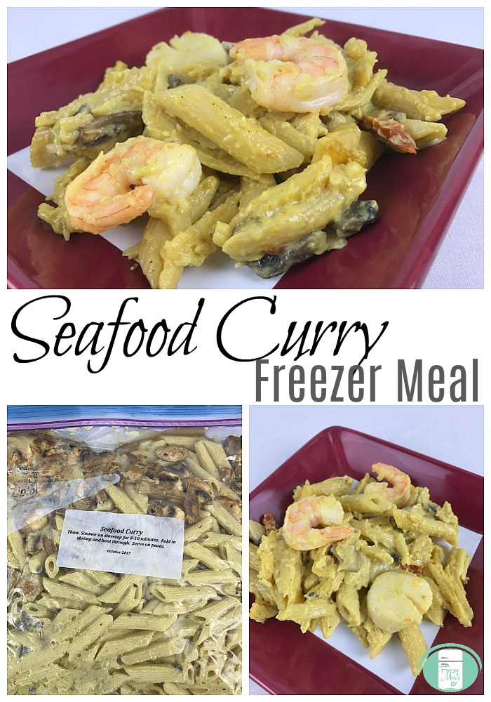 Delicious Seafood Curry pasta freezer meal