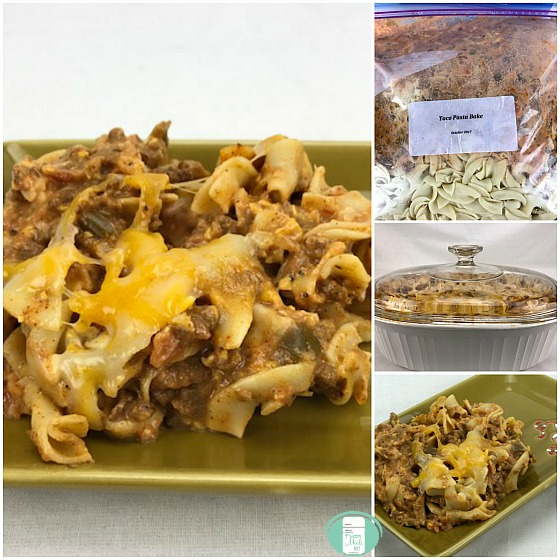 collage of tex mex pasta bake in the freezer bag and on a plate