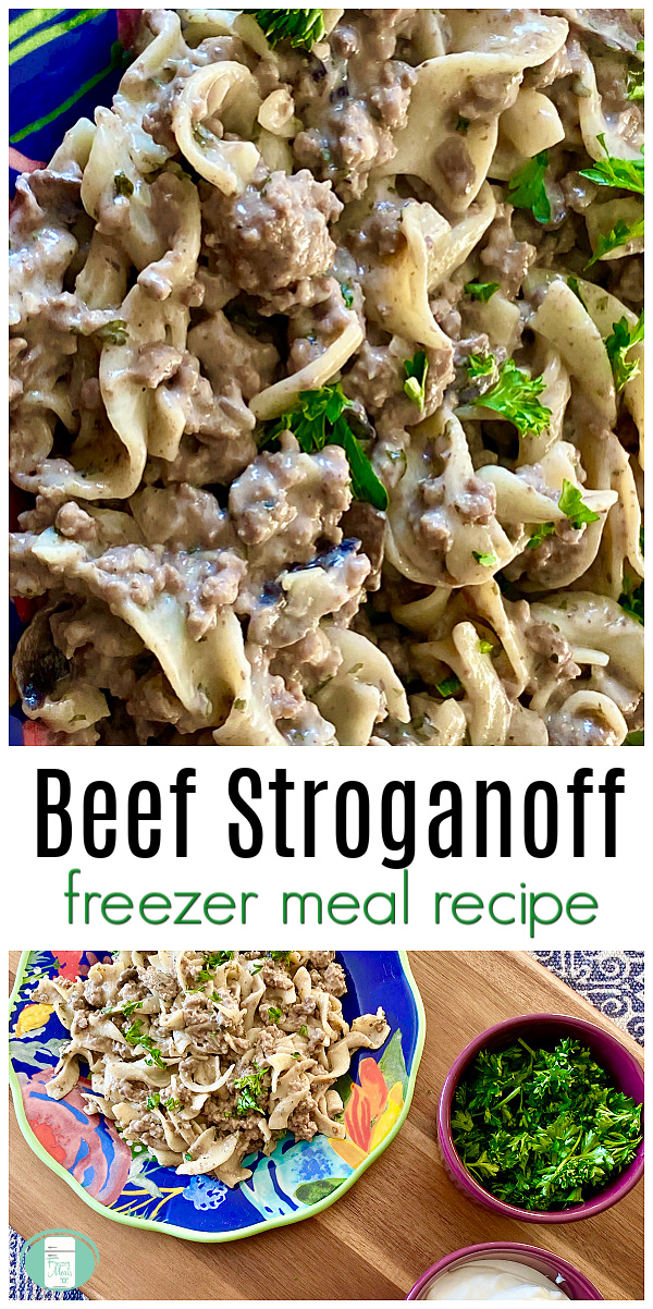 "creamy, chunky sauce on egg noodles with green garnish with text that reads ""Beef Stroganoff freezer meal recipe"" #freezermeals101 #beefstroganoff #makeahead #freezermealrecipe"