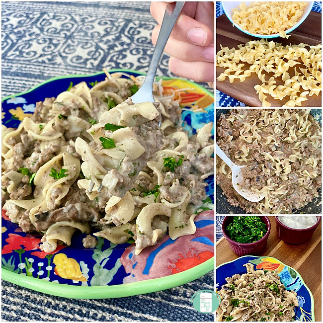 collage of noodles and a skillet of ground beef stroganoff as well as someone lifting some with a fork from a plate