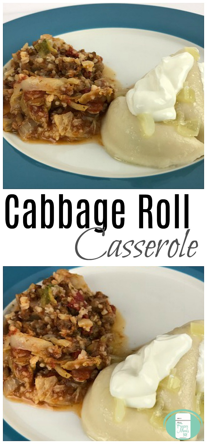 Unstuffed Cabbage Roll Casserole Freezer Meal #easyrecipes #freezermeals101 #freezermeals #freezercooking