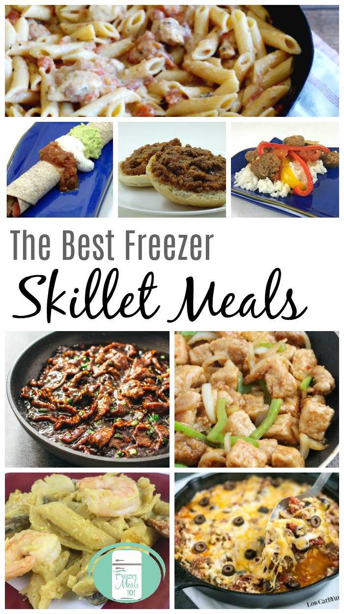 The best freezer skillet meals that can be ready in less than 20 minutes #freezermeals101 #freezermeals #freezercooking