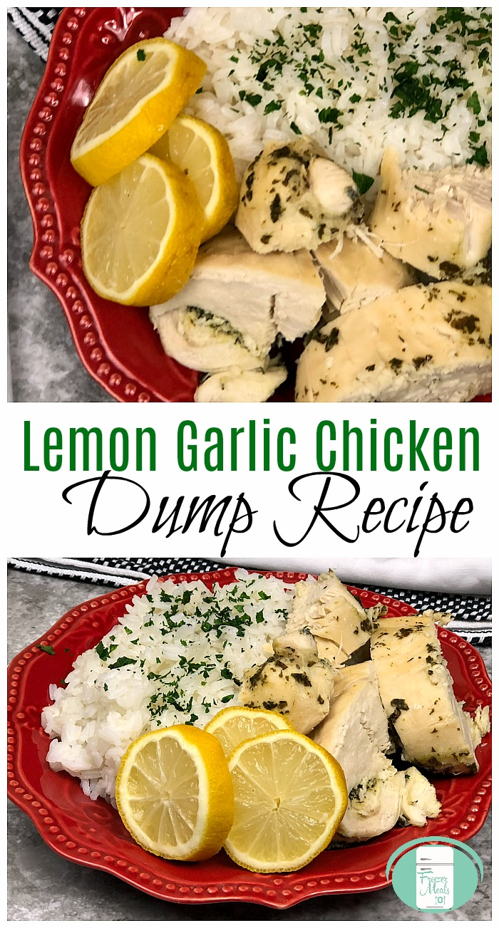 Lemon Garlic Chicken Dump Slow Cooker Freezer Meal #freezermeals101 #freezermeals #crockpot #5ingredient