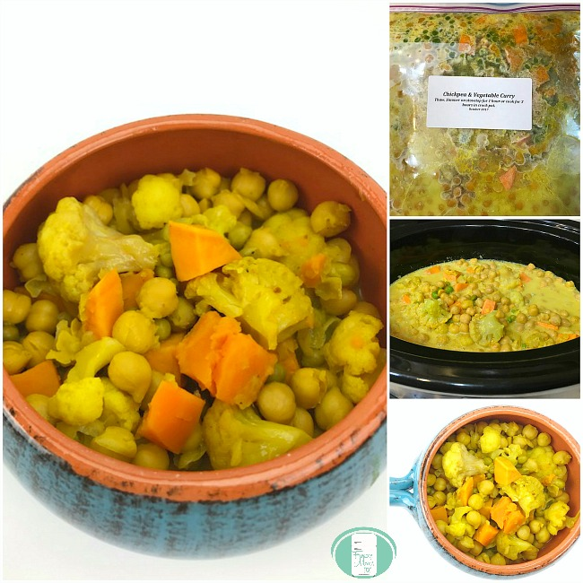 collage of chickpea and vegetable curry in the freezer bag, crockpot and a bowl
