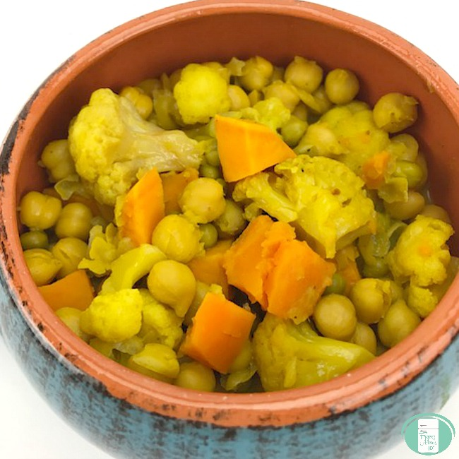 close up of chickpea and vegetable curry