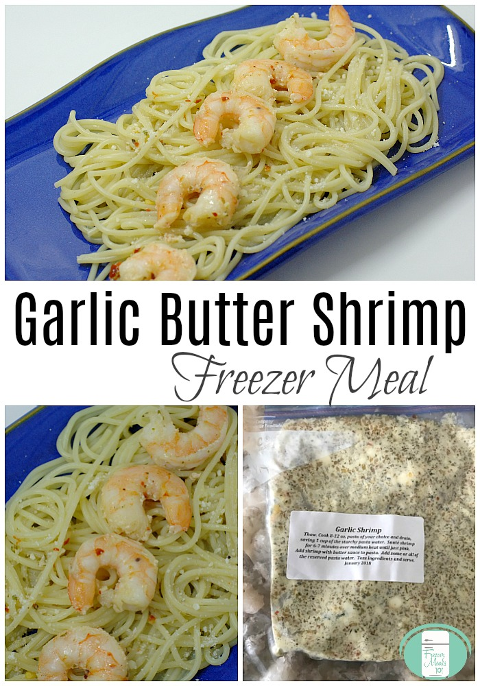 Garlic Butter Shrimp Freezer Meal #freezermeals101 #dinnerin20 #easymeals #skilletmeals #seafood #shrimp