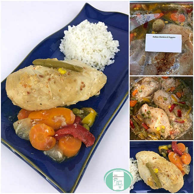 collage of instant pot chicken in the freezer bag and on a plate with vegetables and rice