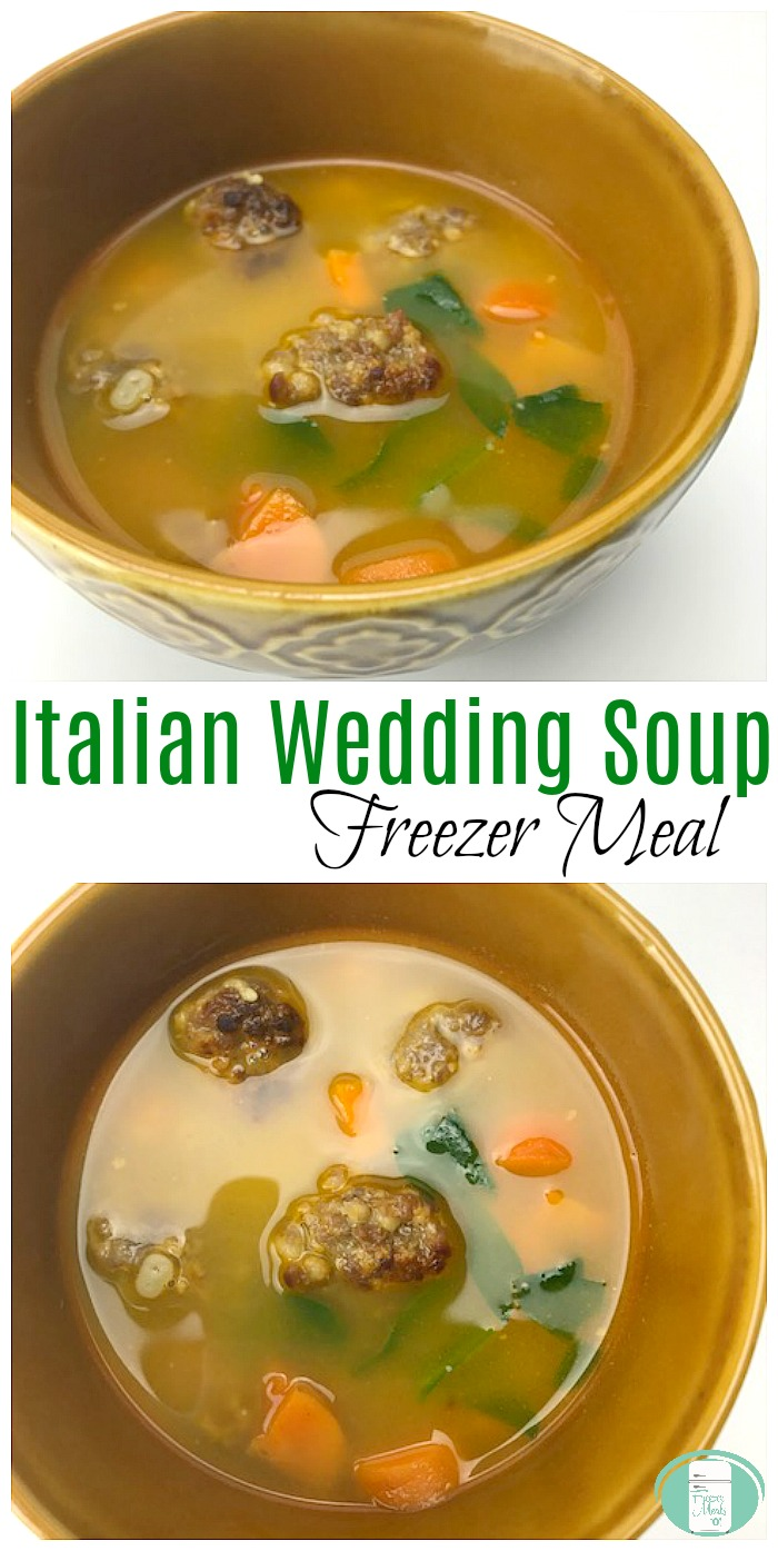 Italian Wedding Soup freezer make ahead meal #easyrecipes #freezermeals101 #freezermeals #souprecipes #soup