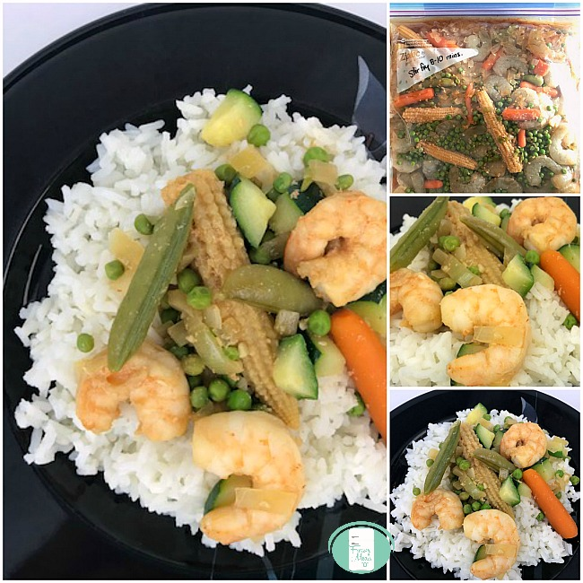 collage of shrimp stir fry in a freezer bag and on a plate with rice