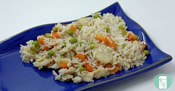 Dish of fried rice with vegetables