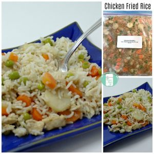 collage of freezer bag of chicken fried rice and finished dish