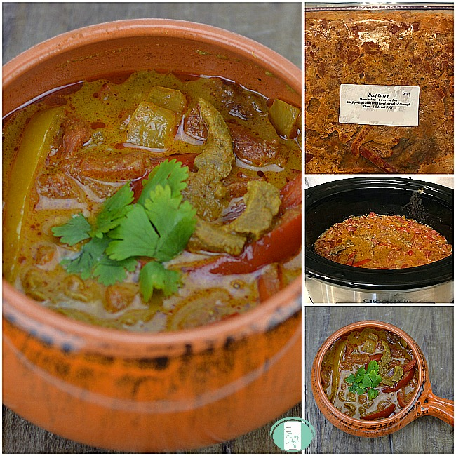 collage of beef curry in the freezer bag, the crock-pot and finished in a bowl