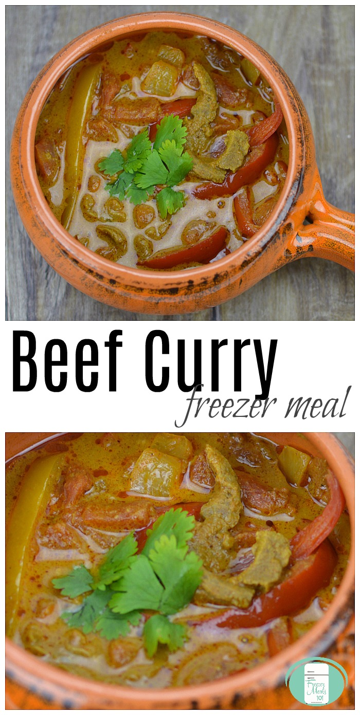 Beef Curry freezer to skillet or crock pot meal #crockpot #slowcooker #freezermeals101 #skilletmeals #freezertoskillet #beefrecipes