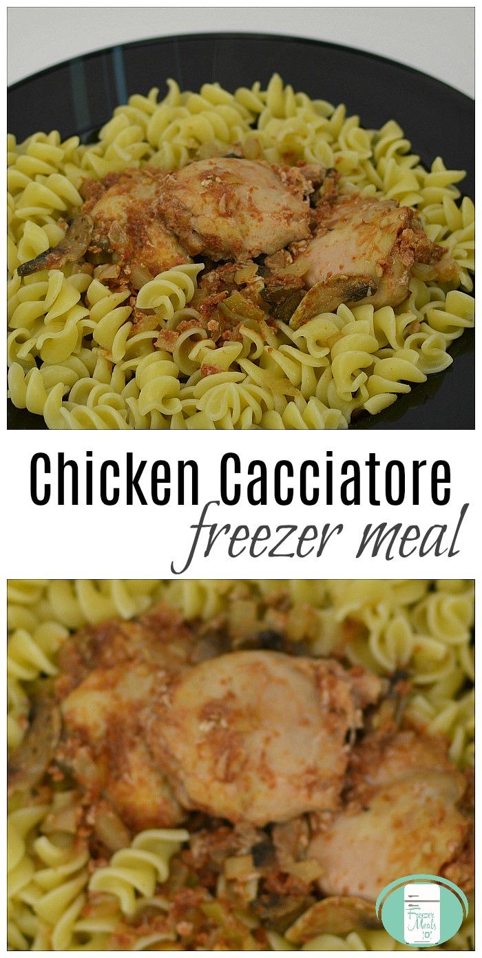 Make Ahead Chicken Cacciatore #freezermeals101 #crockpot #chickenrecipes #freezercooking #pastasauce