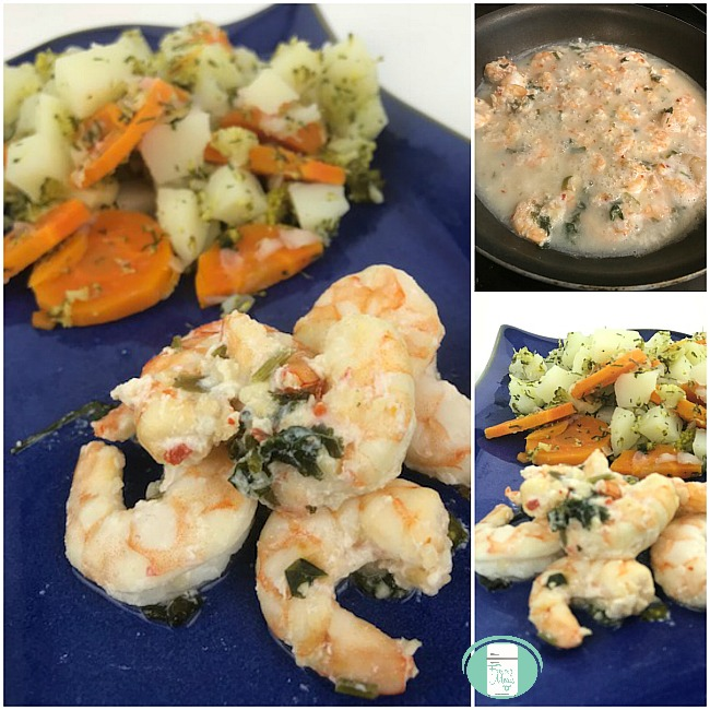 collage of tequila lime shrimp marinating and on a plate with vegetables