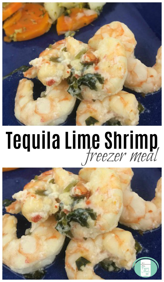 Tequila Lime Shrimp Freezer Meal #shrimprecipes #freezermeals101 #freezermeals #freezercooking