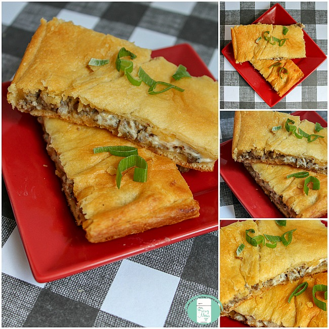 collage of breakfast sausage hand pies