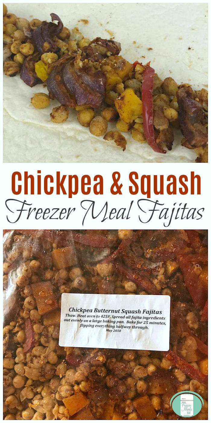 Chickpea and Butternut Squash Fajitas Freezer Meal #freezermeals101 #freezercooking #vegetarianrecipes