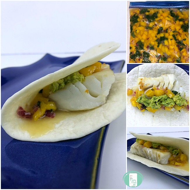 collage of make-ahead fish tacos with mango salsa in the freezer bag and on a plate