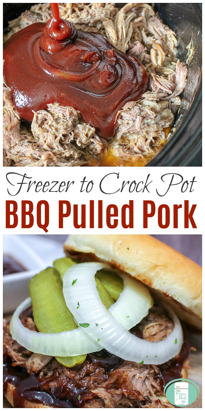 Freezer to Crock Pot BBQ Pulled Pork #freezermeals101 #freezermeals #freezertocrockpot #slowcookerrecipes #pulledpork