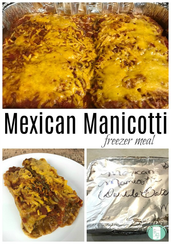Mexican Manicotti Freezer Meal Bake #freezermeals101 #casserole #familyfriendly #forsupper