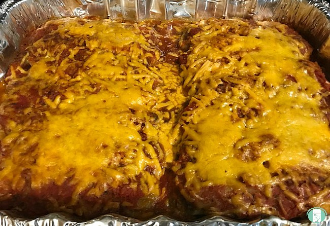 close up of Mexican manicotti bake