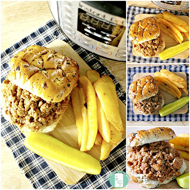 collage of turkey sloppy joes near an instant pot with pickles and fries on the side