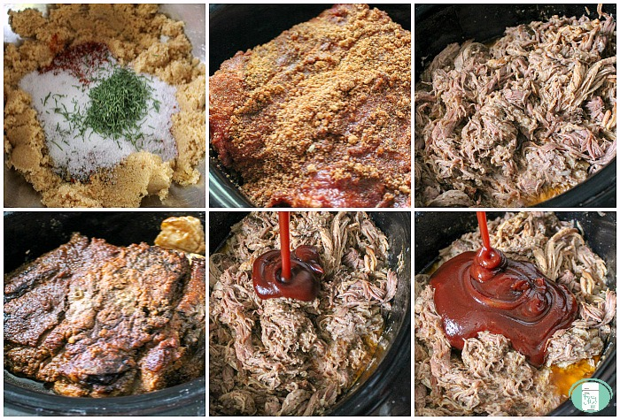 making BBQ pulled pork in the crock pot