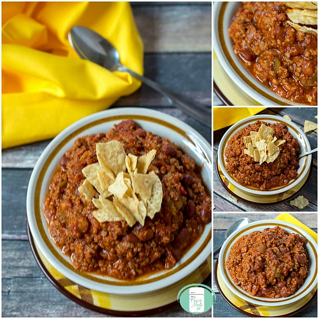 collate of thick and chunky chili in bowls