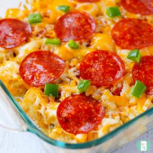 close up of tater tot pizza casserole