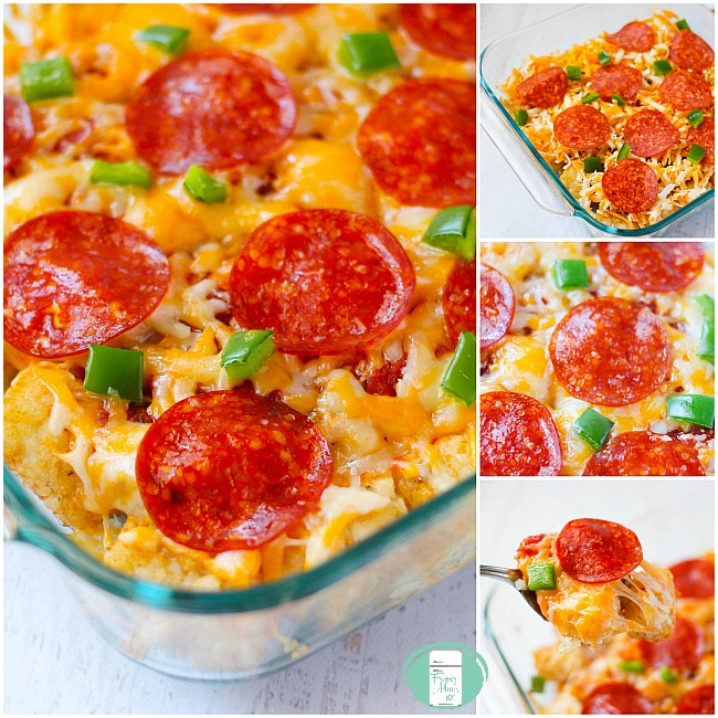 collage of tater tot pizza casserole in a square pan