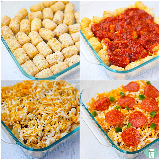 collage showing steps to layer ingredients for the tater tot pizza casserole