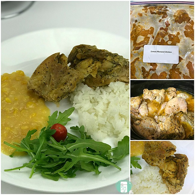 collage of lemon mustard chicken in the freezer bag and plated with sides
