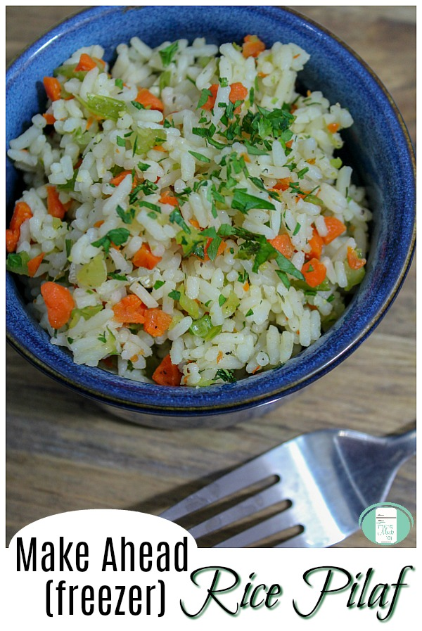 Make Ahead (freezer) Rice Pilaf - this easy side dish is so nice to have on hand. #freezermeals101 #freezercooking #sidedishrecipes #easyfamilyrecipes #makeaheadmeals