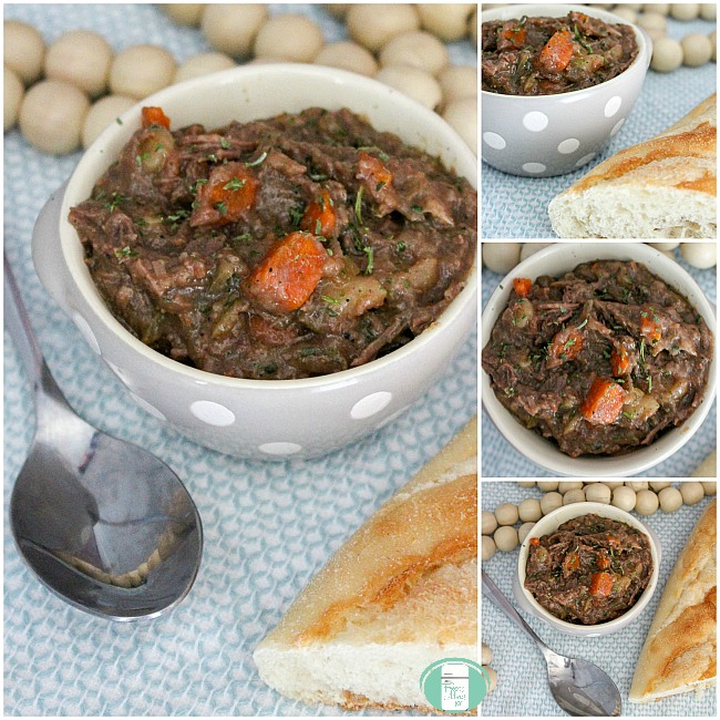 collage of rustic beef slow cooker stew in bowls