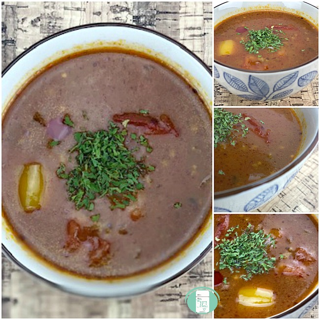 collage of stuffed pepper soup in bowls