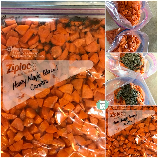 collage of honey maple glazed carrots being put in freezer bags