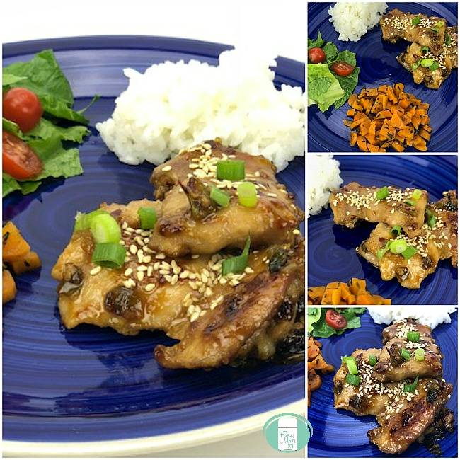 collage of honey sesame chicken served with rice and honey maple glazed carrots