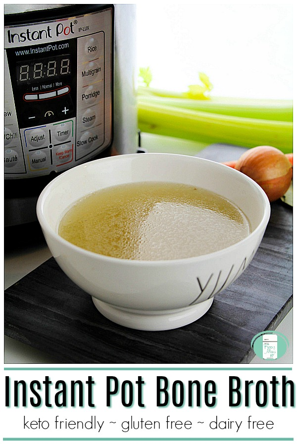 This Instant Pot bone broth is keto friendly, gluten free, dairy free, and packed full of nutrition. #freezermeals101 #freezercooking #makeaheadmeals #keto #bonebroth #ketogenic #ketodiet #ketolife #lowcarb