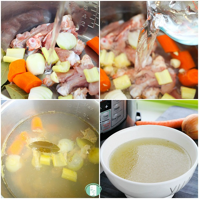 steps to putting ingredients for keto bone broth in the instant pot and a bowl of finished broth