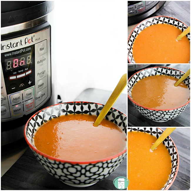 collage of tomato soup with the instant pot and in a bowl