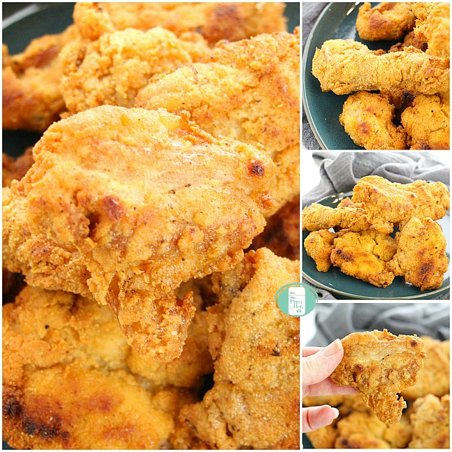 collage of keto KFC style chicken