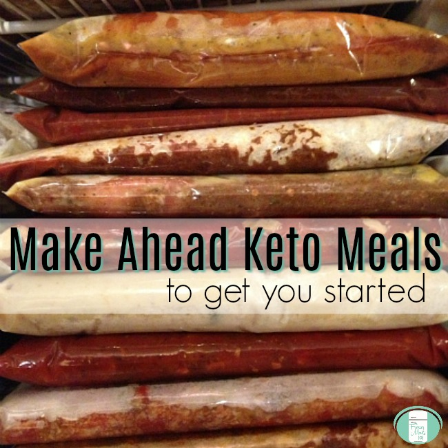 stack of freezer meals with the words Make ahead keto meals to get you started